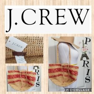 J. Crew Red Stones Accent Straw Tote Bag